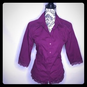 Purple Lace Accent Blouse